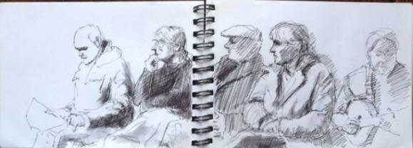 Unity Folk Club at Torriano| Drawing Emily Johns