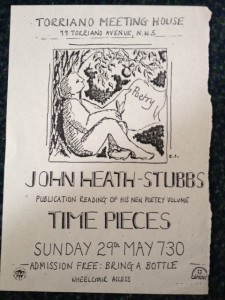1987. Torriano Meeting House poetry readings gave rise to a publishing house - Hearing Eye. Time Pieces was published in 1988.