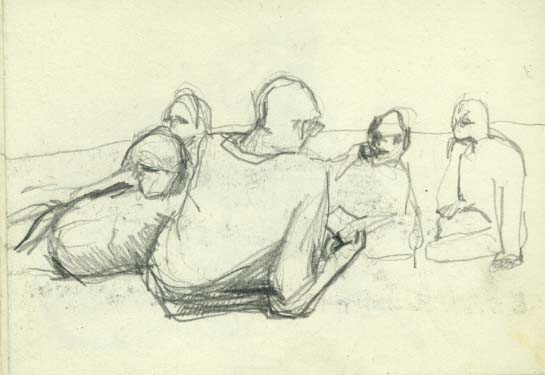 Annual poets picnic by the Parliament stone on the Heath. John Heath-Stubbs and Patrick Featherstone in this drawing.
